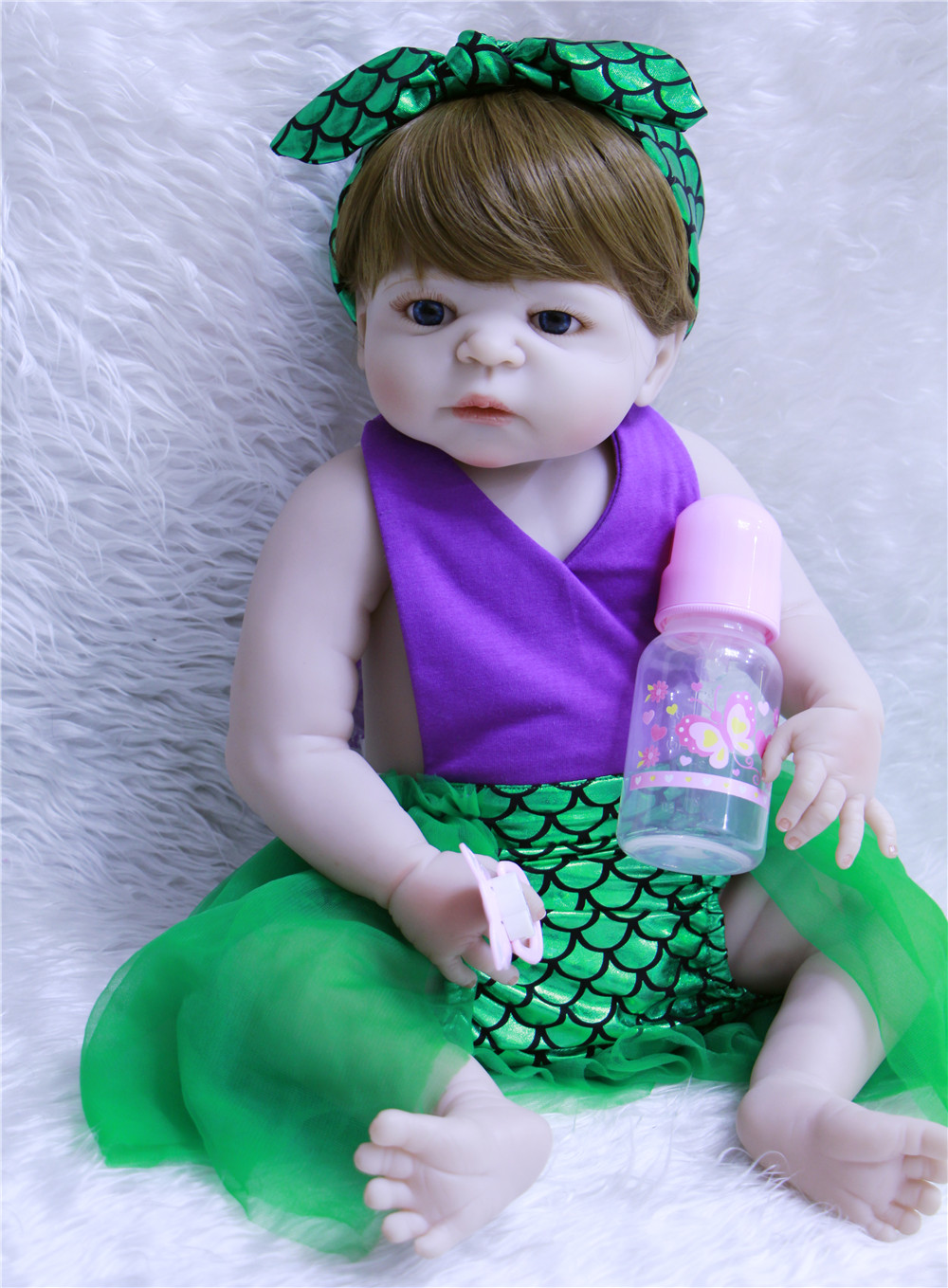 55cm Collectible doll Full Body Vinyl Silicone Reborn Toddler Princess lifelike Realistic lol doll bathe brinquedos birthday toy55cm Collectible doll Full Body Vinyl Silicone Reborn Toddler Princess lifelike Realistic lol doll bathe brinquedos birthday toy