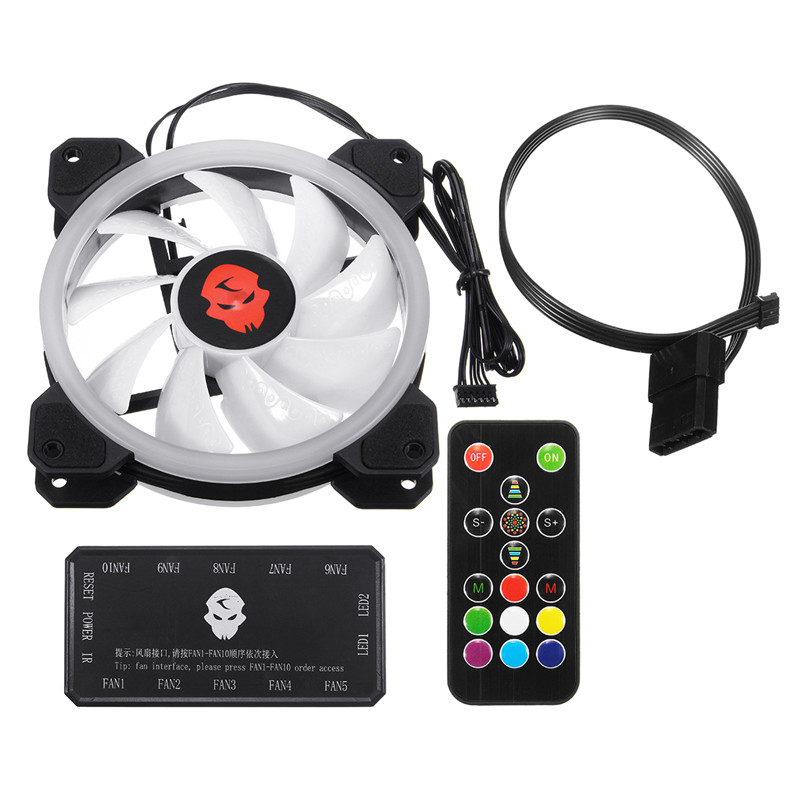 120mm RGB Adjustable CPU Cooling Fan High Quality Computer LED Cooler Case Silent CPU Radiator Heatsink Controller Remote For PC 12v 2 pin 55mm graphics cards cooler fan laptop cpu cooling fan cooler radiator for pc computer notebook aluminum gold heatsink