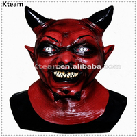Top Grade Halloween Party Coplay Horror Red Horn Uzzath Devil Adult Demon Latex Mask Zombie Scary Mask Full Head Horror Mask toy