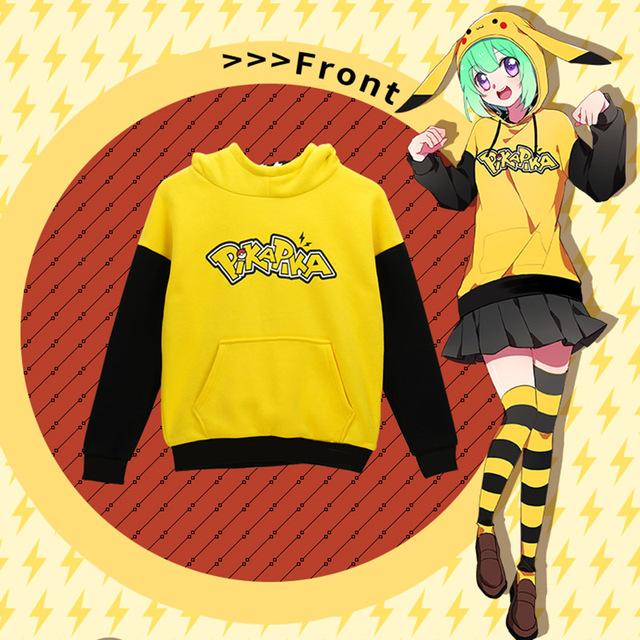 Pokemon ropa Otoño Invierno Hombres Mujeres Hoodies Del Algodón de La Novedad Sudaderas adolescentes Niño Niña Abrigo de Pikachu niños Animación Cosplay