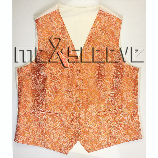 free shipping orange paisley lady fashion work wear waistcoat