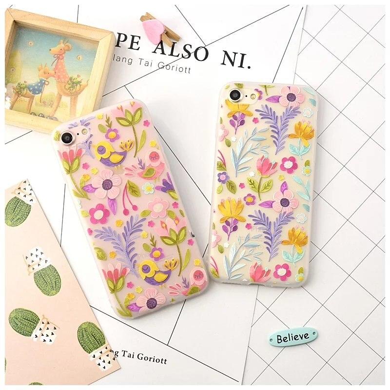 Новый дизайн цветы птицы рельеф скраб телефон чехол для iphone 8 7 плюс милый мультфильм силиконовый чехол для телефона для iPhone 6/6 S Plus