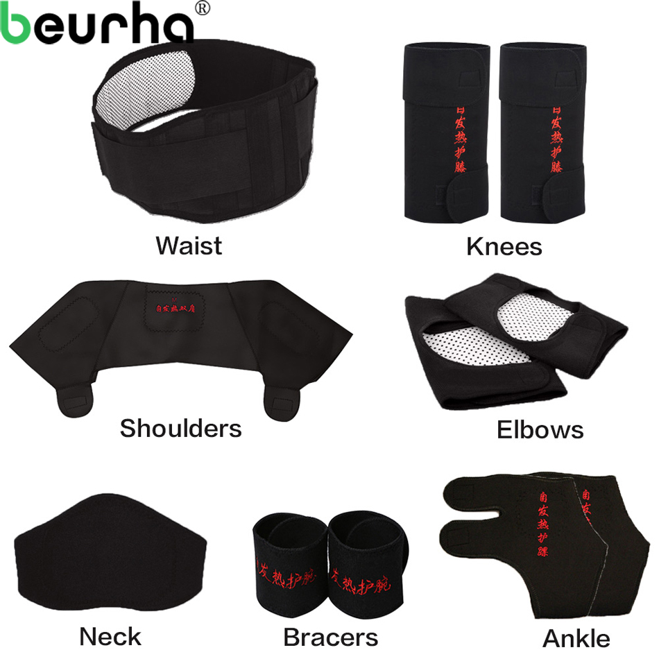 Beurha 11PCS Self-heating Tourmaline Belt Magnetic Therapy Neck Shoulder Posture Correcter Knee Support Brace Massager Products цена
