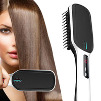 LCD Ion speed hot straight hair comb Hair Straightener Negative Comb Ceramic LCD Display Adjustable Temperature Hair Brush