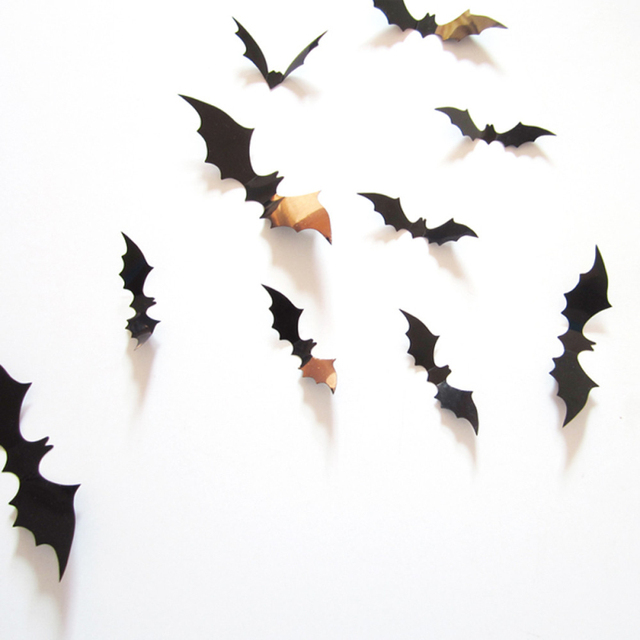2016 New Qualified 12pcs Black 3D DIY PVC Bat Wall Sticker Decal Home Halloween Decoration Festival Sticker Decoration