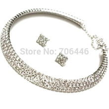 Silver Wedding Jewelry Sets 3 Rows Clear Rhinestone Crystal Diamante Bridal Bridesmaid Choker Necklace Stud Earrings(China)