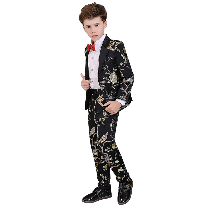 Flower Boy Formal Wedding Dress Suit Sets Children Prom Host Piano Performance Costume Kids Tuxedo + Pants Bowtie Outfits-in Suits from Mother & Kids    1