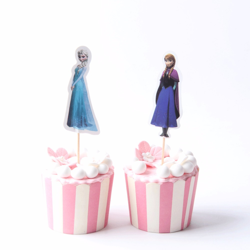 72pcs/lot Wedding Party Supplies Elsa Anna Princess Cupcake Topper ...