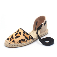 Women Genuine leather shoes Leopard print espadrilles Flats Spring and Fall ankle strappy sandals Two Pieces Women Casual shoes