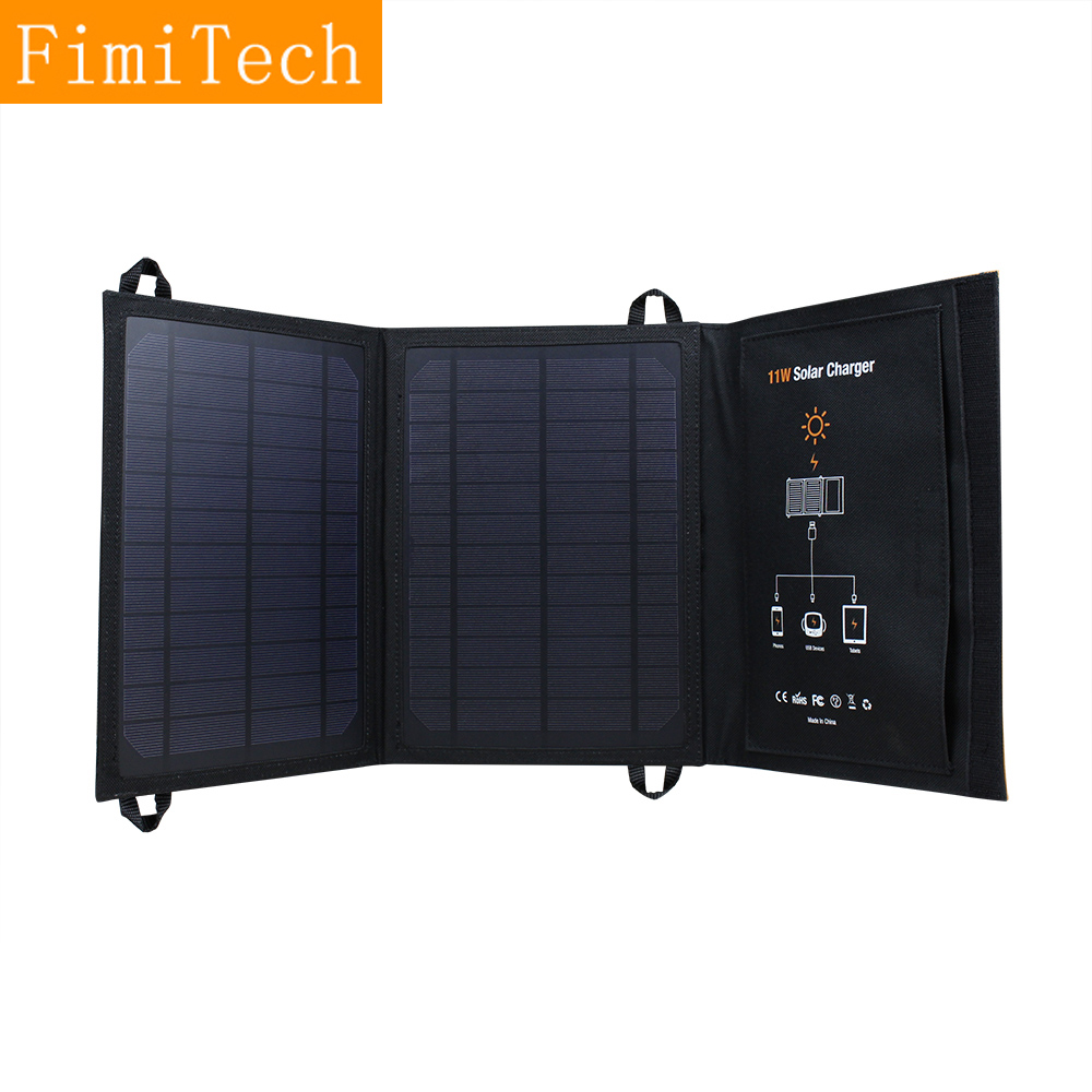 Foldable Solar Panel 11W 5V 1.8A Monocrystalline Outdoor Solar Charger For for Iphone Sumsung Phones Gps Camera Watch,2 USB Port