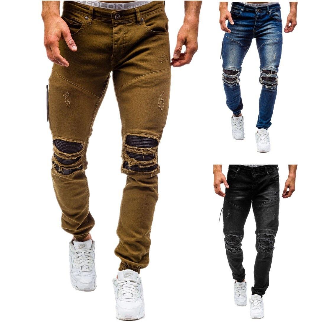 2017 Nuovo arrivo CosMaMa fabbrica di Marca del progettista slim fit fashion strappato in pelle al ginocchio strappato freddo danneggiato biker jeans pantaloni per uomini