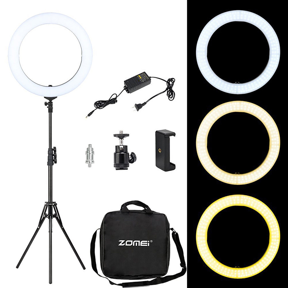 ZOMEI 18 Photographic Lighting LED Ring light with tripod stand phone clip for photo studio camera video makeup live broadcast 40w daylight 5600k fluorescent ring lamps light for video photo selfie makeup lighting photo ring light photographic lighting