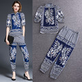 Runway Vintage Oriental Impressão Flores do Verão Set Roupas femininas Lanterna Solto Blusa Tops E Calças Harém Ternos NS261