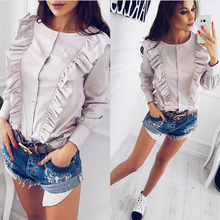 SIMIN 2017 autumn new fashion women elegant blouse casual o-neck long sleeve tops ruffles shirts striped button clothing