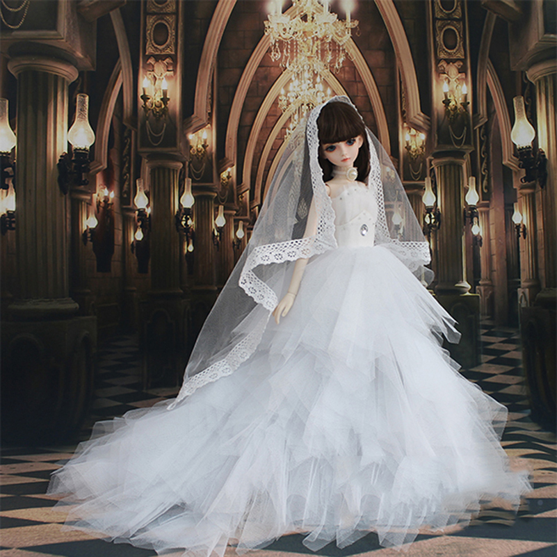 Wedding Dress Evening Dress Doll Accessories 1/3 1/4 BJD Doll Clothes Clothing Princess SD MSD BJD Clothes Toys For Girls