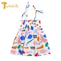 TWINSBELLA Princess Dress for Girls 2017 Summer Girls Clothes Blue Cartoon Moana Dress Bow Pearl Decor Beach Dress Sundress