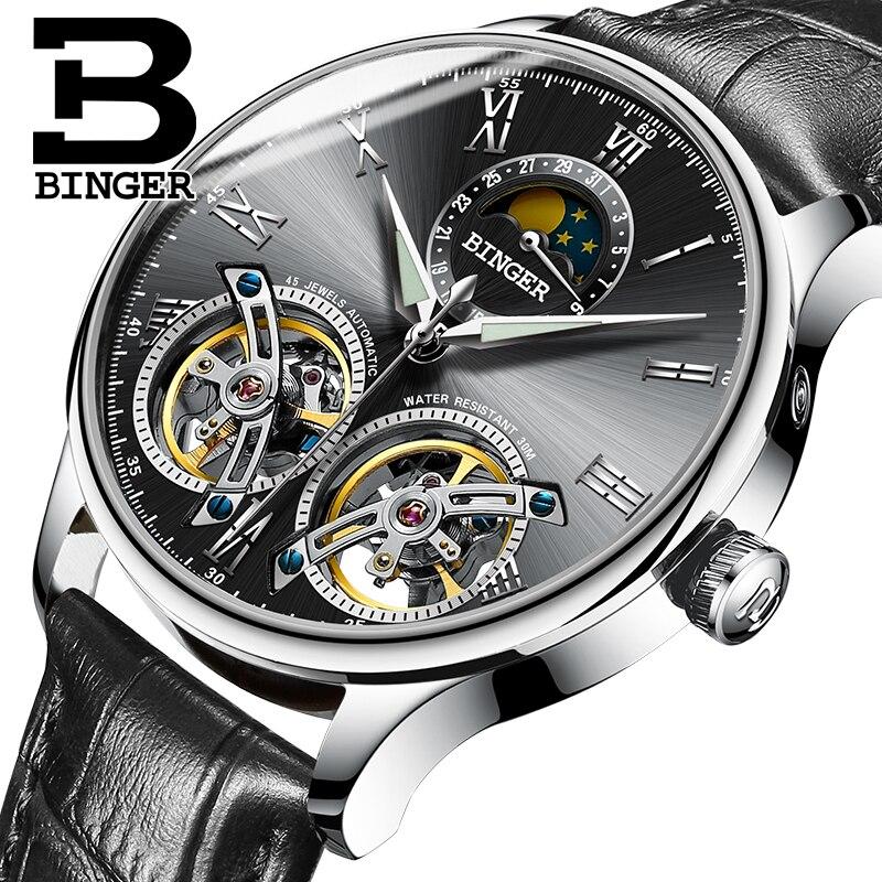 Genuine Switzerland BINGER Brand Men Self-wind waterproof full steel automatic mechanical leather male Two Tourbillon watch недорго, оригинальная цена