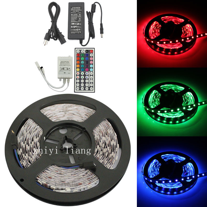 colorful led 5M RGB 5050 60LED/m SMD Flexible Light Strip Lamp+44 key IR+12V 5A Power Supply