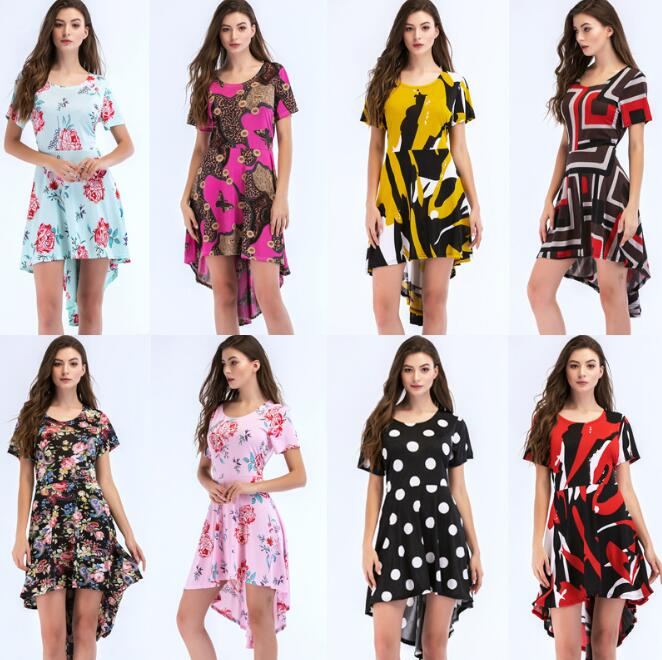 Summer Bohemian Sexy Deep O-neck Flower print dress Casual Short Sleeve Irregular Beach dresses