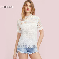 COLROVIE White Geo Lace Tops Hollow Out Vintage Blouse 2017 Ruffle Cuff Women Elegant Summer Tops