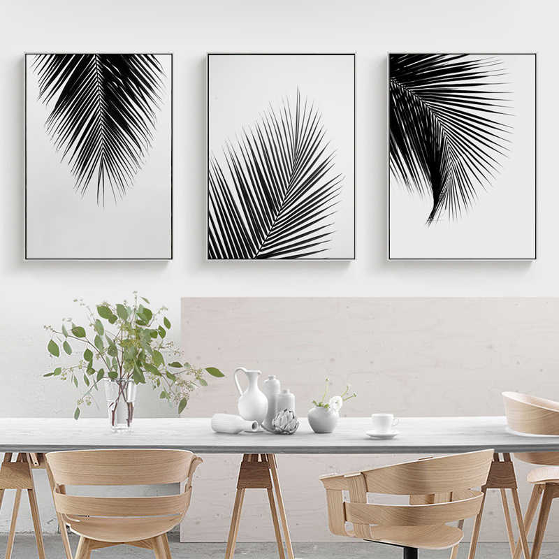 Black White Gray Palm Tree Leaves Canvas Posters Prints Minimalist Painting Wall Art Decorative Picture Nordic Style Home Decor