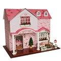 24-й DIY Деревянный Ручной Миниатюрный Кукольный дом Комплект-Алиса большой кукольный домик и Мебели на английском языке