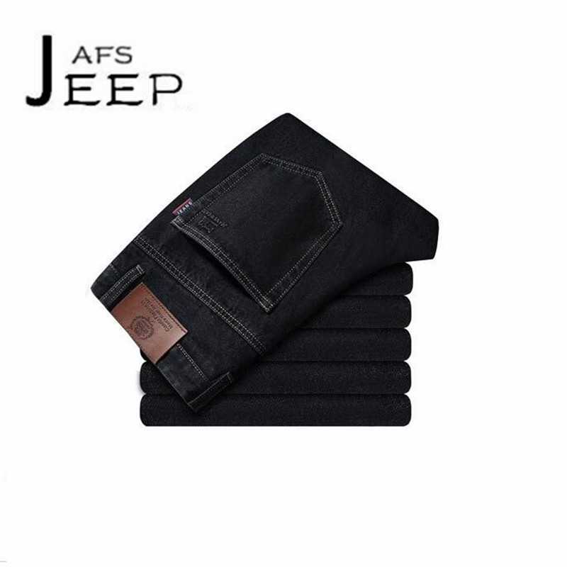 AFS JEEP Black Color Man's Autumn Jeans,Original Brand Male Water washed Denim Trousers,Slim mans Cotton Light Elastic bottoms