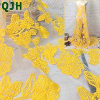 QJH Brand High Quality French Organza Lace Fabrics Yellow African Net Lace Fabric Embroidered Tulle Mesh