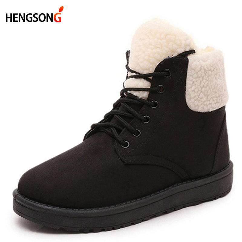 Winter Shoes Woman Snow Boots Women's Shoes Thick Flock Warm Ankle Boots Female Winter Boots Round Toe Lace-Up Flats  OR400329 lin king hot sale women snow boots lace up flock solid high top ankle boots round toe thick sole low heel warm wintrer boots