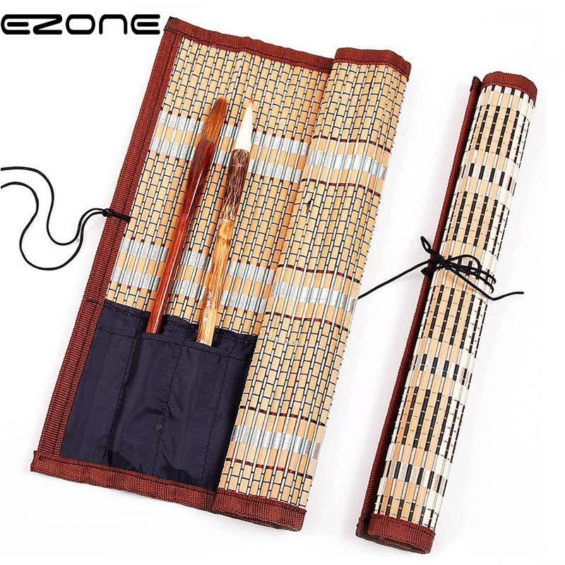 EZONE Calligraphy Pen Case Painting Brush Holder Bamboo Rolling Bag Curtain Pack For Watercolor Oil Drawing Pens Art Supplies