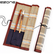 Купить с кэшбэком EZONE Calligraphy Pen Case Painting Brush Holder Bamboo Rolling Bag Curtain Pack For Watercolor Oil Drawing Pens Art Supplies