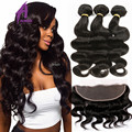 Brazilian Virgin Hair Body Wave With Closure 13x4 Full Lace Frontal Closure With Bundles Ear To Ear Lace Frontal With Bundles