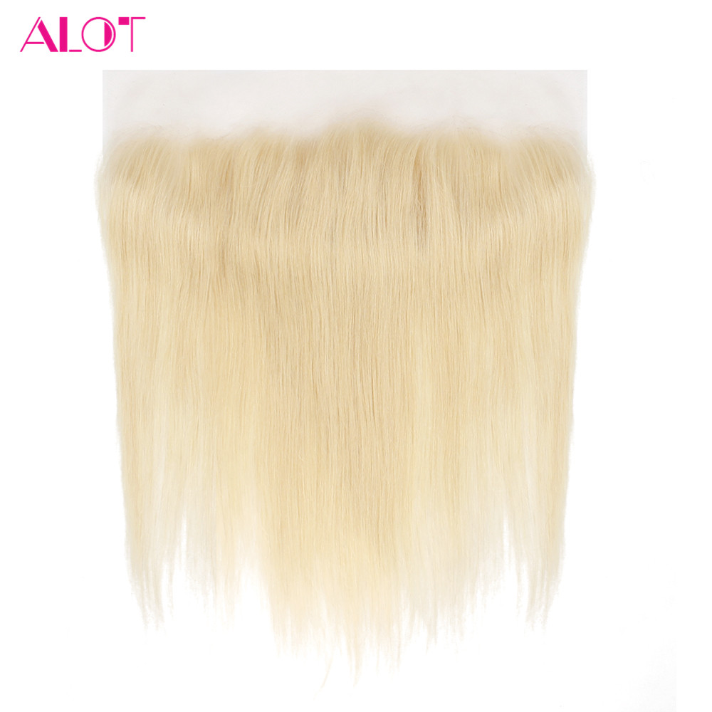 ALOT HAIR 613 Blonde Lace Frontal Brazilian Straight 13*4 Human Hair Closure With Baby Hair PrePrucked NonRemy 8-20FreeShipping image