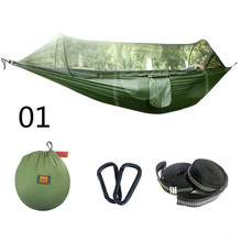Outdoor Camping Hammock Mosquito Net Portable Travel Garden Swing Canvas Stripe Hang Bed 250*120cm
