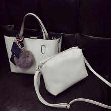 Bolish Litchi Pattern Soft PU Leather Women Handbag Two Pieces Female  Shoulder Bag Girls Small Casual Shopping Women Bag e833d625a6