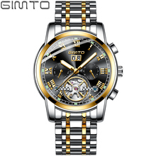 GIMTO Luxury Mens Automatic Mechanical Watches Men Stainless Steel Gold Watch Week Clock Waterproof Tourbillon Men Wristwatch цена 2017
