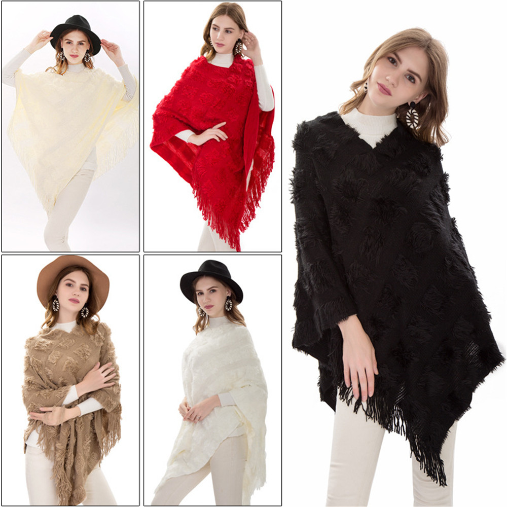 New Sexy Retro winter knitted turtleneck cape shawl female fashion stripes European and American style ladies scarf cloak