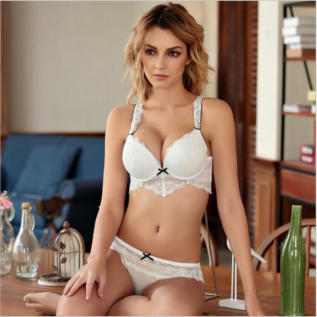 HOT 2017  New Women Sexy Underwear ABC Cup sexy lace underwear ladies deep V hollow bow knot set up bra set   32ABC-36ABC-38BC