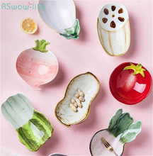 Household Creative Ceramic Plate Cute Fruit Plates Soy Sauce Dish Salad Candy Kitchen Supplies