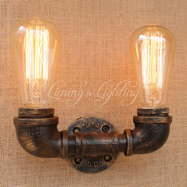 Retro Loft Style Industrial Vintage Wall Lamp Edison Wall Sconce 2 Lights Water Pipe Wall Light Fixtures Home Lighting E27 Bulb цена