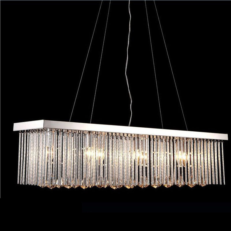 Simple modern stylish rectangular restaurant lamps living room chandelier bedroom study room dining room Crystal hanging lamp цена и фото