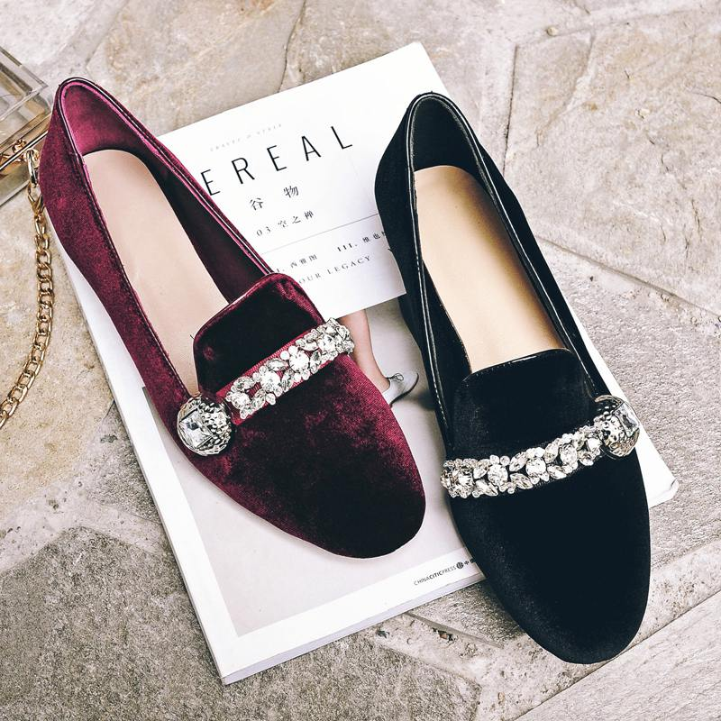 New round toe genuine leather velvet solid colors diamond crystal sweet Princess style low heel