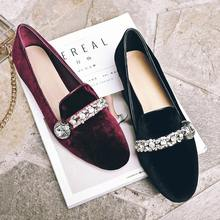 New round toe genuine leather velvet solid colors diamond crystal sweet Princess style low heel women brand shoes big size 01