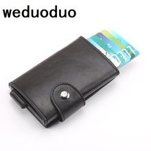 купить Weduoduo New RFID Blocking Credit Card Holder Men Aluminum Metal Business ID Card holder Fashion Slim PU Leather Mini Wallet дешево