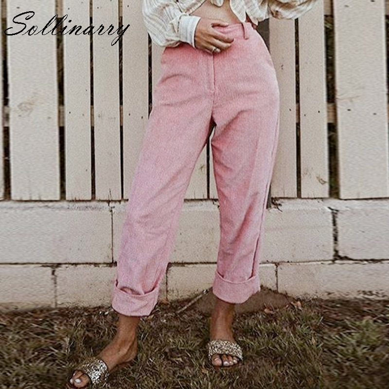 Sollinarry Autumn Winter 2018 High Waist Corduroy Casual   Pants   Solid High Street Fashion Trousers Loose   Pants     Capris   Women