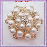 Gold Color Beautiful Pearl And Crystal Brooch 12pcs/lot Wedding Bouquet Brooches