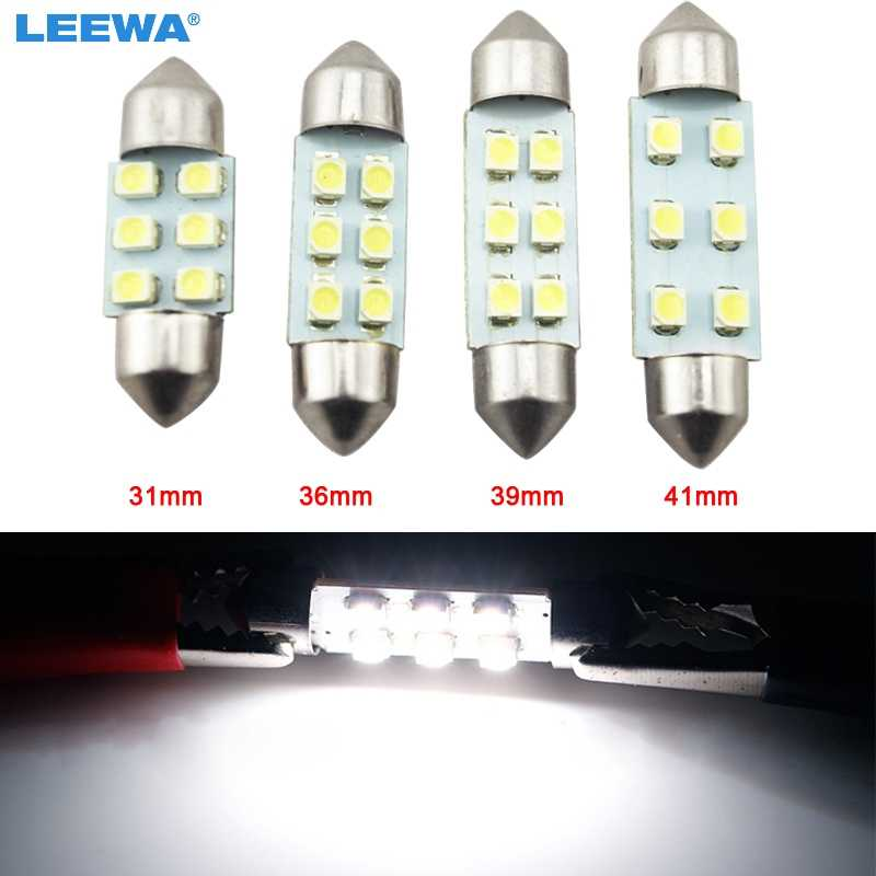 LEEWA 1 pc Super blanco 31mm/36mm/39mm/41mm 1210/3528 6SMD Auto bombillas de luz LED Festoon # CA4742