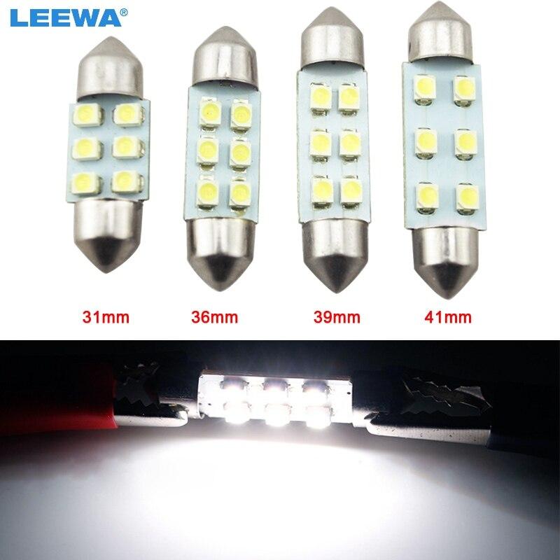 LEEWA 1шт супер Белый 31 мм/36 мм/39 мм/41 мм 6SMD 1210/3528 автомобиля авто Фестона купола светодиодные лампы #CA4742