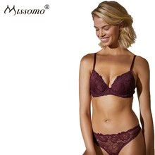 Missomo 2019 New Arrival Western Style Simple Push Up Red Wine Sexy Lace Adjustable Shoulder Strap Steel Ring Bra