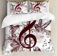 עיצוב חמוד פרחוני שמיכה כיסוי סט עם מפתח הטרבל מוסיקה ושירה ציפורים עפות דרורים מצעי 4 Piece אמנות דקורטיבי סט